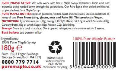 Pure Maple Butter - jar label - Pure Maple - Maple Syrup