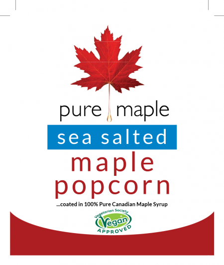 Sea Salted Maple Popcorn - bag label - front