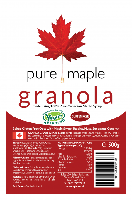 label on bag of Maple Syrup Granola - including nutritional information