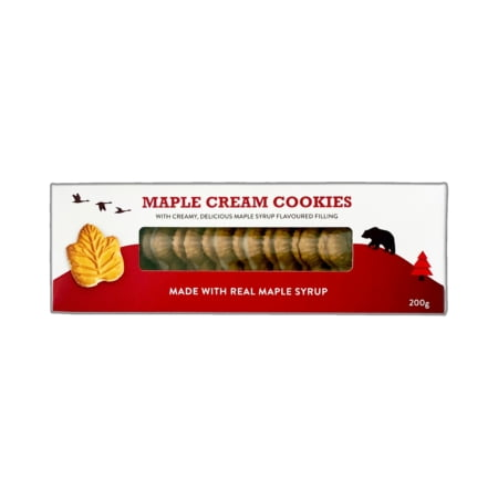 Pure Maple - Maple Cream Cookies (200g) - Classic Canadian maple leaf cream cookies - red and white box