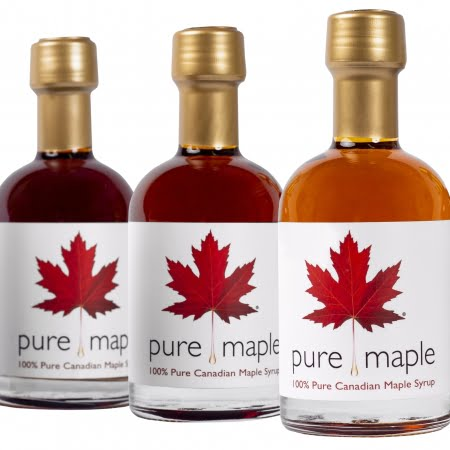 3 bottles of different types of pure maple syrup