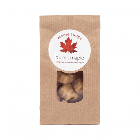 bag of maple fudge with clear window showing product inside