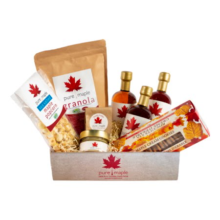 Gift box containing 3 different tastes of Maple Syrup, bag of Granola, 1 jar of Maple Butter, Maple Fudge, 1 bag of Popcorn, 1 box of Maple Cream Cookies