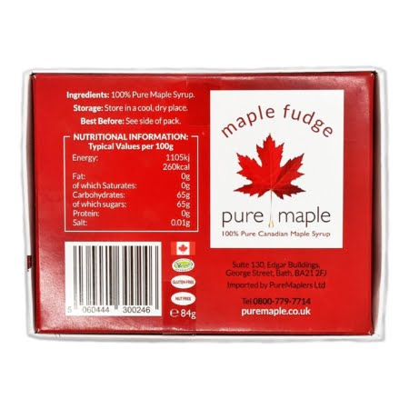 box of maple fudge, soft maple leaf candies - back showing nutritional info