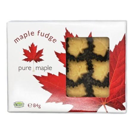 box of maple fudge, soft maple leaf candies - font showing candies through window