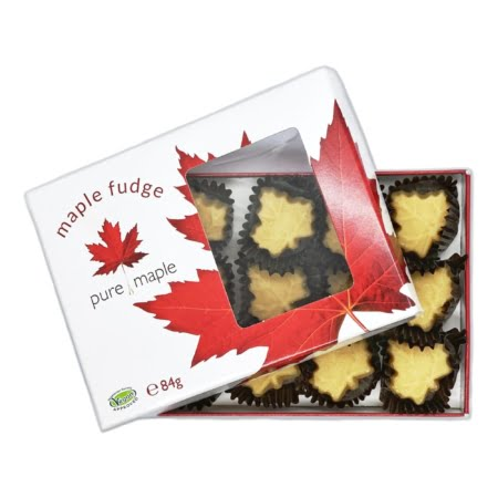 box of maple fudge, soft maple leaf candies - lid partly removed showing candies