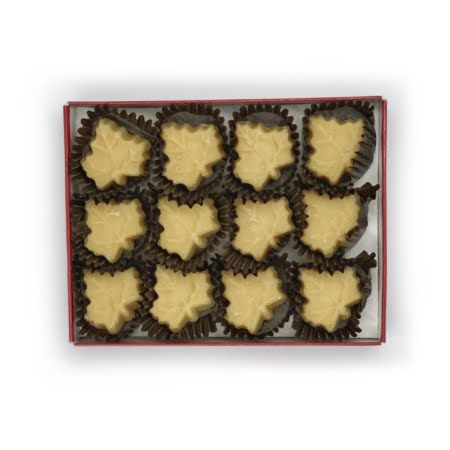 box of maple fudge, soft maple leaf candies - lid removed showing 12 candies