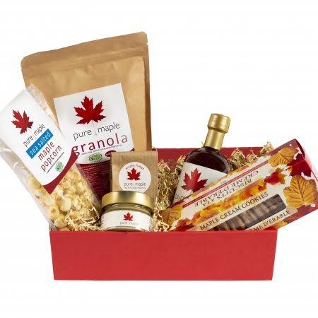 Gift box containing Amber Rich Maple Syrup, Granola, Butter, Fudge, Popcorn, Cookies