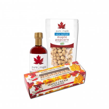 Maple Father's Day Gift Box [Maple Cream Cookies, Maple Sea Salted Popcorn, Amber Rich Maple Syrup]
