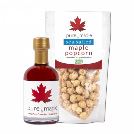 bag of Maple Sea Salted Popcorn + bottle of Amber Rich Maple Syrup