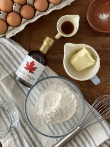Churro ingredients maple syrup, flour, butter, vanilla, eggs, salt and water