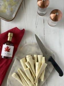 Maple roasted parsnips ingredients, parsnips, maple syrup, salt, pepper and olive oil