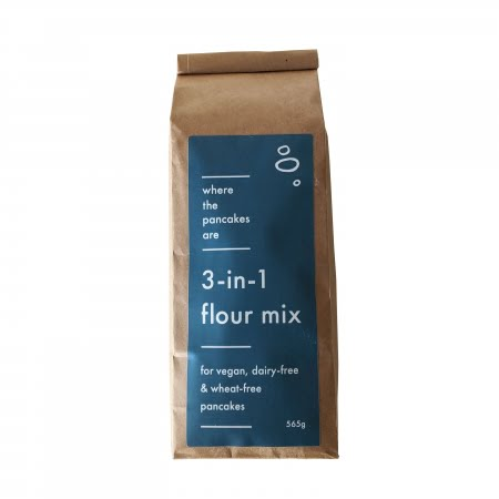 bag of 3-in-1 flour mix for wheat-free, dairy-free, vegan pancakes blue label