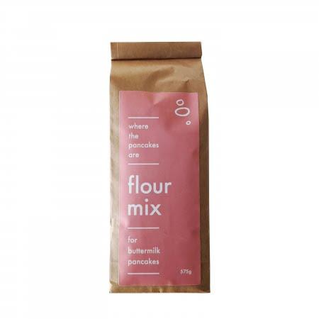 bag of flour mix for buttermilk pancakes pink label