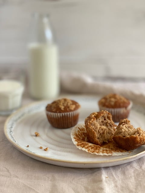 Apple Maple Muffins with Crumble Topping and a glass of milk - Pure Maple Syrup