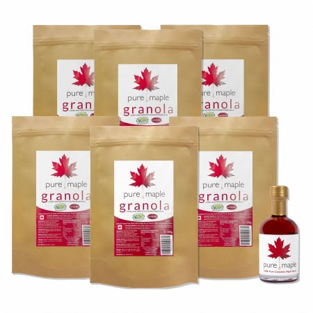 6 bags of Pure Maple Granola + bottle of Amber Rich Maple Syrup