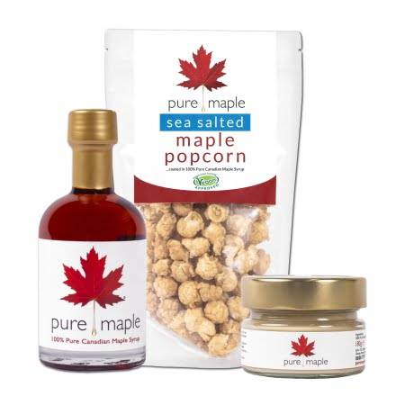 Bottle of Maple Syrup, bag of popcorn, jar of Maple Butter
