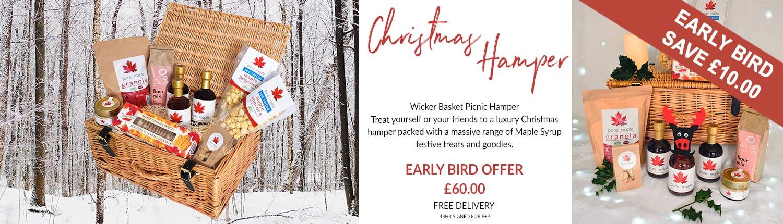 Maple Lovers Luxury Christmas Hamper Gift Basket - Early Bird offer banner - £60, £10 off