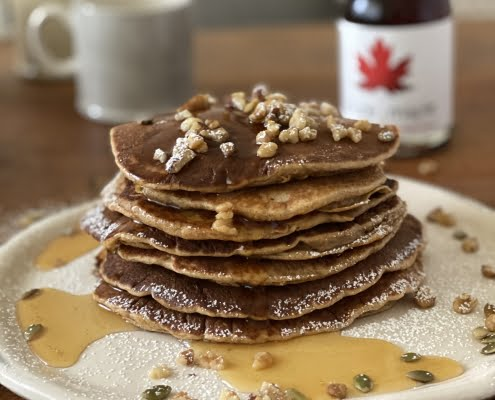 Pumpkin Pie Pancakes with pumpkin seeds, walnuts and Pure Maple Syrup - Pure Maple