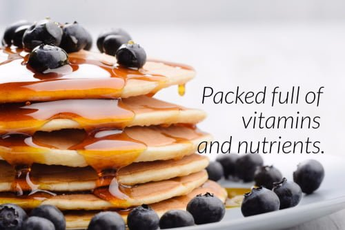Stack of blueberry pancakes covered in Pure Maple Syrup - Health Benefits - Packed full of vitamins and nutrients