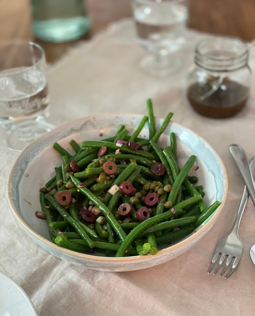 French bean salad with a jar of maple and mustard dressing - Pure Maple