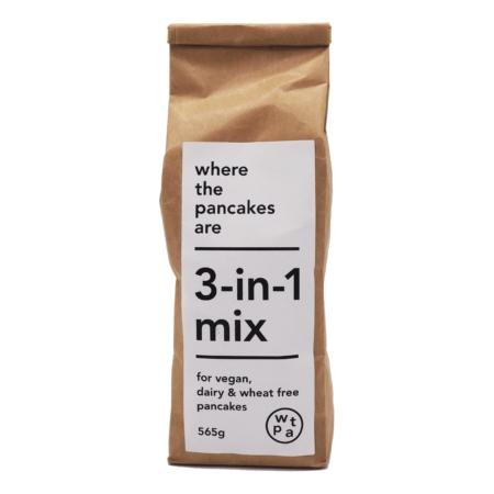 bag of 3-in-1 flour mix for wheat-free, dairy-free, vegan pancakes